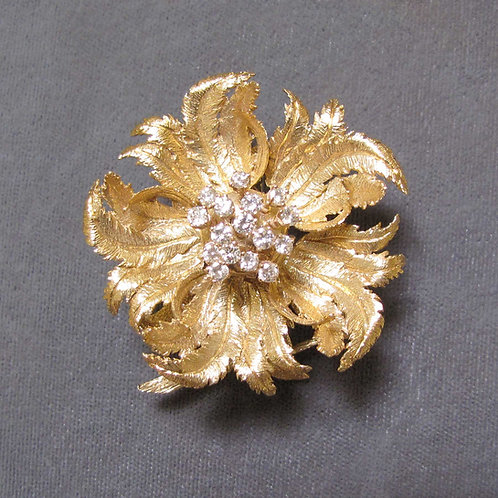14K and Diamond Articulated Flower Brooch