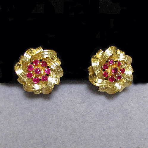 18K Ruby Cluster Button Earrings