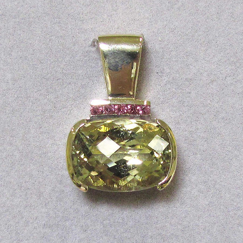 Modern 14K Oval Hiddenite and Pink Tourmaline Pendant
