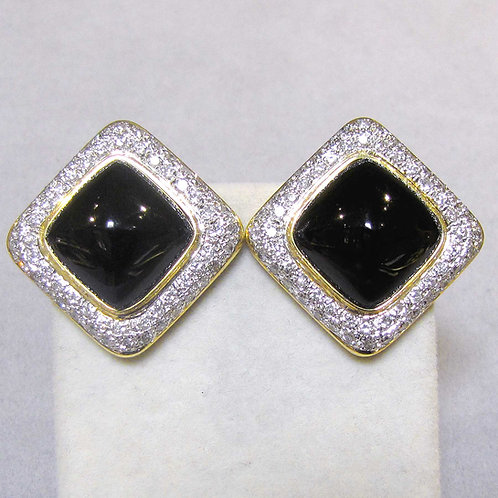 Large 18K Onyx and Diamond Earrings