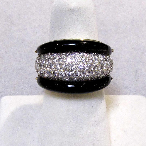 18K Diamond and Onyx Wide Band Ring