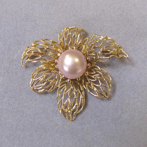 18K Pink Freshwater Pearl Flower Brooch