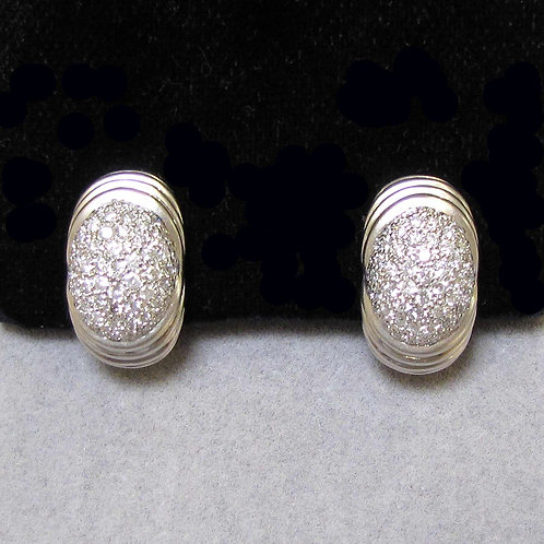 Oval White Gold Pave Center Diamond Earrings