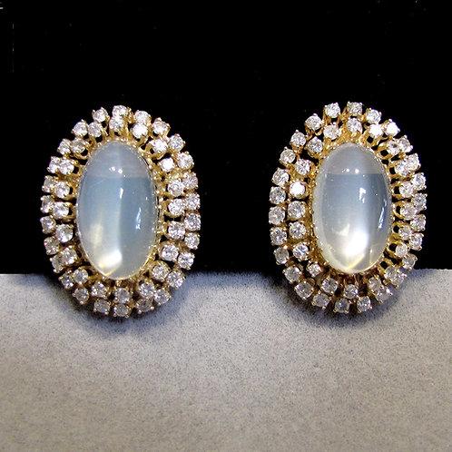Large Moonstone and Diamond Earrings