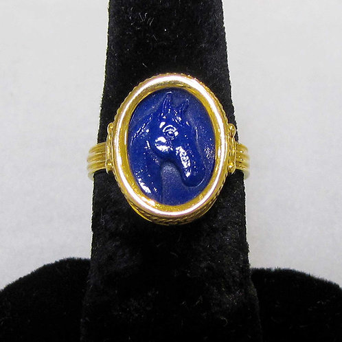 18K Blue Glass Horse Cameo Ring