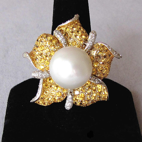 Large South Sea Pearl Flower Ring with Yellow Sapphires and Diamonds