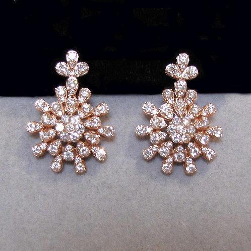 "18K Rose Gold Diamond ""Sunburst"" Drop Earrings"