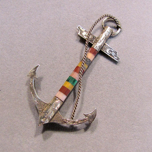 Antique Engraved Sterling Silver and Multicolor Opaque Gemstone Anchor Brooch