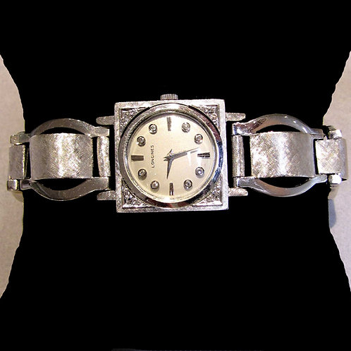 Vintage White Gold and Diamond Longines Wristwatch
