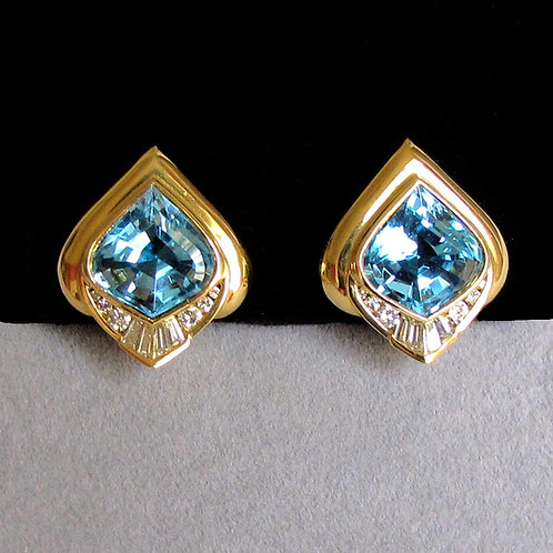 18K Onion Cut Blue Topaz and Diamond Earrings