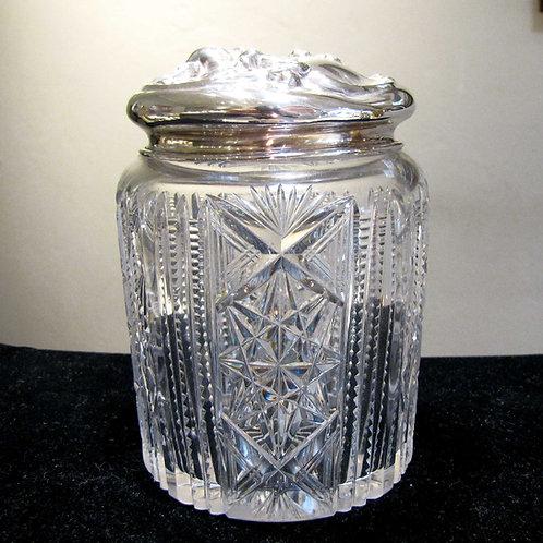 Antique Sterling Silver-Lidded Cut Crystal Jar
