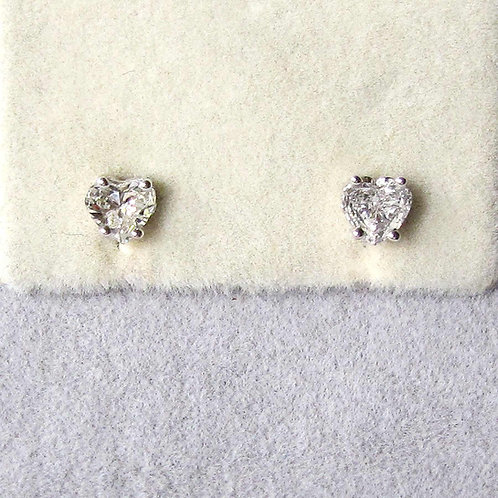 White Gold .68 Ctw. Heart Shape Diamond Solitaire Stud Earrings
