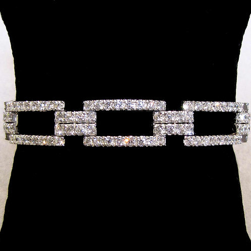 18K White Gold and Diamond Rectangular Link Bracelet