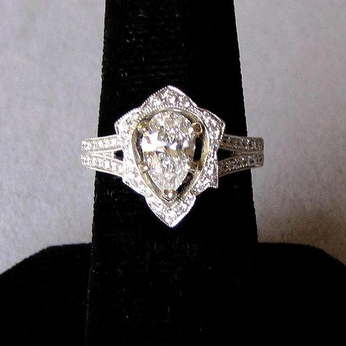 White Gold Fancy Pear Shape Diamond Ring