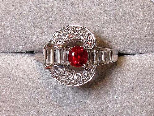 Palladium Ruby And Diamond Ring