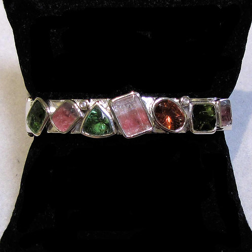 White Gold Multicolor Tourmaline Hinged Bangle Bracelet