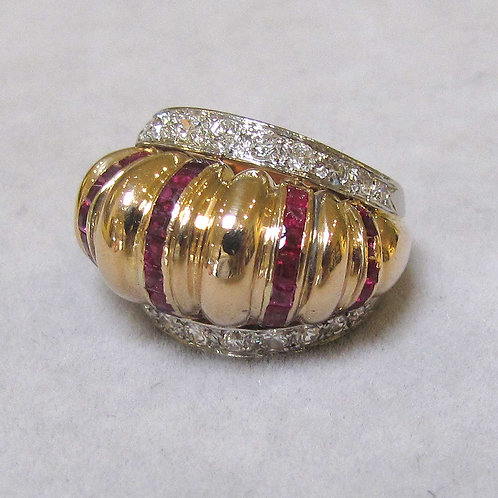 Retro Rose Gold Ruby and Diamond Dome Ring