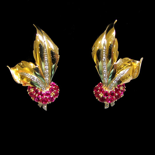 Retro 14K Ruby and Diamond Leaf Earrings