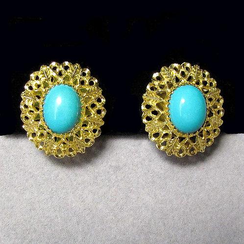 Fancy 18K Persian Turquoise Oval Button Earrings
