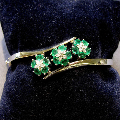 White Gold Emerald and Diamond Flower Motif Bangle Bracelet