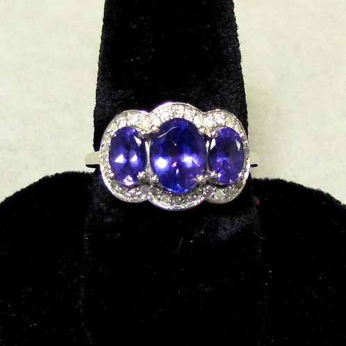 White Gold Triple Tanzanite and Diamond Ring