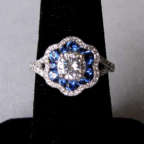 18K White Gold Diamond and Bright Blue Sapphire Ring