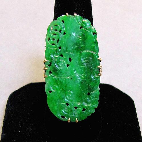 18K Large Carved Green Jadeite Ring