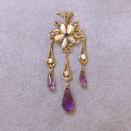 Late Victorian Triple-Drop Natural Pearl and Amethyst Pendant