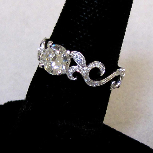 14K White Gold Diamond Scrolled Shank Ring