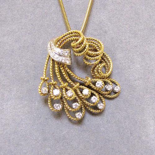 Fancy Freeform Wirework Diamond Pin/Pendant