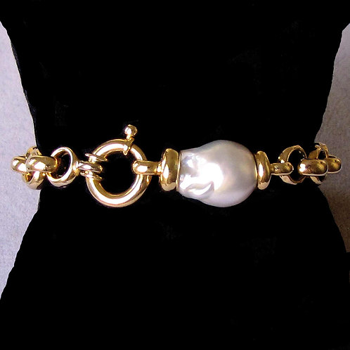 18K Rolo Link Bracelet with Baroque South Sea Pearl Station