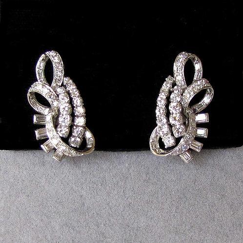 Fancy Platinum and Diamond Swirl Design Earrings