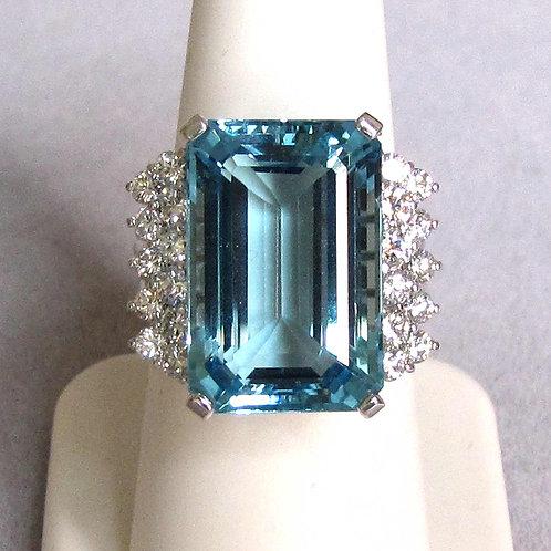 18K White Gold Large Emerald Cut Aquamarine and Diamond Ring
