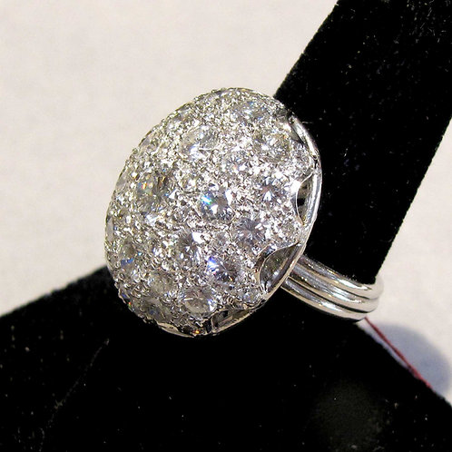 Dazzling 18K White Gold & Diamond 9 ctw. Cluster Dome Ring