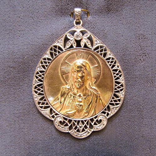 "Antique 18K Rose Gold, Silver and Diamond ""Sacred Heart"" Medallion Pendant"