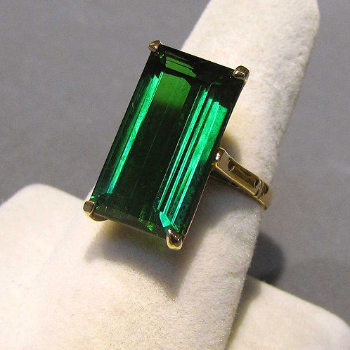 Large Elongated Green Tourmaline Solitaire 14K Ring