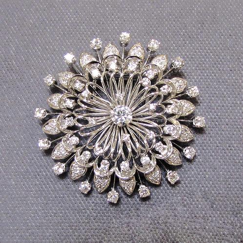 18K White Gold Round Openwork Diamond Brooch