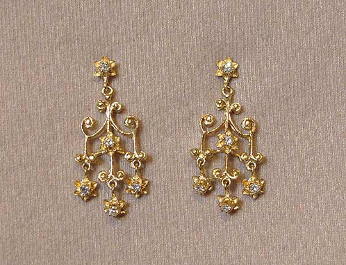 14k Yellow Gold Victorian Style Diamond 51 Ct Chandelier Earrings 1 2