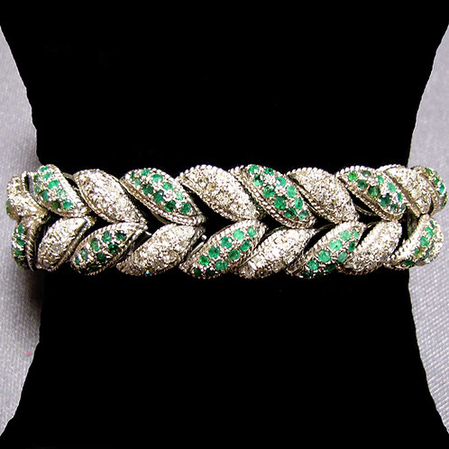 White Gold Emerald and Diamond Chevron Bracelet