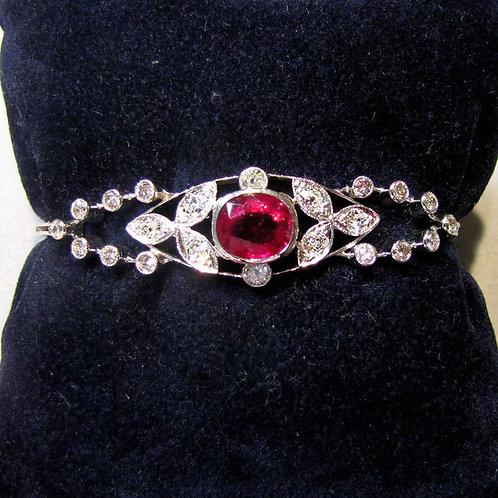 Edwardian White Gold Pink Tourmaline and Diamond Bracelet