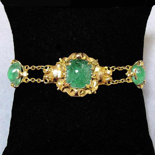 Victorian 18K Cabochon Emerald Bracelet