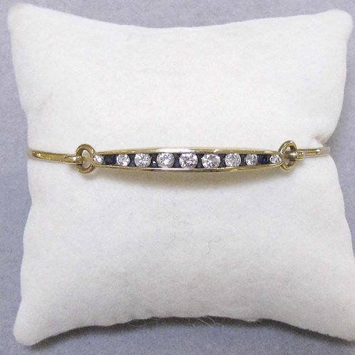 14K Channel Set Diamond and Sapphire Bangle Bracelet