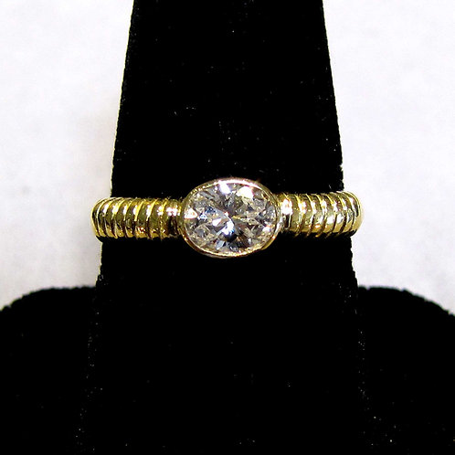 18K Hand Made Oval Diamond Solitaire Ring