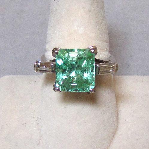 Platinum Square Light Green Aquamarine and Diamond Ring