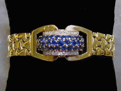 18K Sapphire & Diamond Covered Face Bracelet Watch