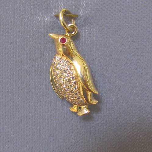 14K Diamond and Ruby Penguin Charm