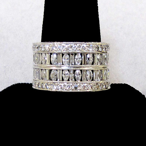 Wide 18K White Gold and Diamond Eternity Band Ring