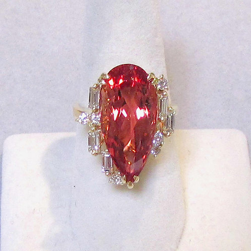 18K Large Pear Shape Imperial Topaz and Diamond Ring