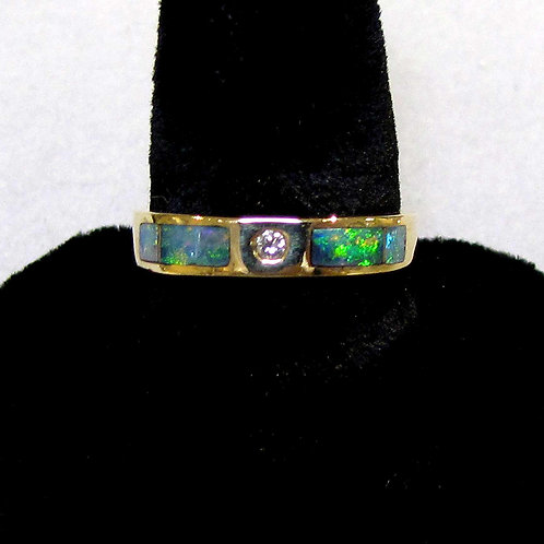 Inlaid Black Opal and Diamond Stacking Band Ring