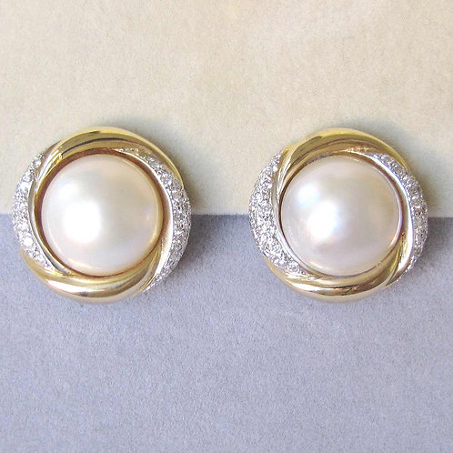 Large 18K Mabe Pearl and Diamond Button Earrings